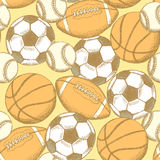 Шарик футбола, американского футбола, бейсбола и баскетбола Стоковые Фото