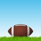 Шарик футбола на поле травы Предпосылка вектора Стоковое Изображение