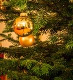 Шарик яркого блеска на рождественской елке Стоковые Изображения RF