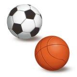 Шарик для футбола и баскетбола на белой предпосылке Стоковое Изображение