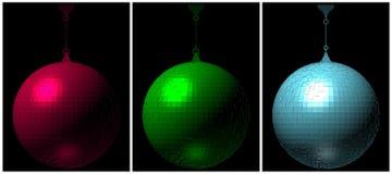 Шарик диско RGB на черном векторе предпосылки Стоковые Изображения RF
