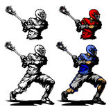 шарик cradling игрок lacrosse иллюстрации Стоковые Изображения RF