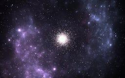 Шаровое звездное скопление, сферически собрания старых звезд которое двигает по орбите галактическое ядр Стоковое фото RF