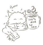 Шарфа изверга шаржа какао милого выпивая для книжка-раскраски Стоковая Фотография