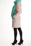Шарф бирюзы и бежевое пальто Стоковые Изображения RF