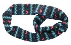 Шарф изолированный на белой предпосылке Взгляд сверху шарфа черная синь Стоковые Фото