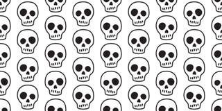 Шарф предпосылки плитки отравы призрака косточки перекрещенных костей хеллоуина вектора картины черепа безшовный изолировал обои  бесплатная иллюстрация