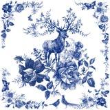 Шарф шелка с флористическим и диким животным Иллюстрация оленей Винтажная шаль дизайна с розами иллюстрация штока