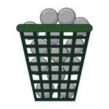 Шары для игры в гольф в корзине иллюстрация вектора