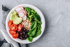 Шар Будды буррито с дикими рисами и брокколи, шпинатом, черными фасолями, томатами, авокадоом и редиской Стоковые Фото