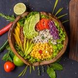 Шар Будды с нутом, авокадоом, диким рисом, семенами квиноа, болгарским перцем, томатами, зелеными цветами, капустой, салатом на з стоковые фотографии rf
