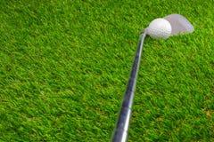 Шар для игры в гольф и гольф-клуб на траве стоковая фотография