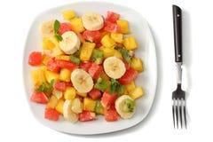 Шар здорового салата цитрусовых фруктов изолированного на белой предпосылке Взгляд сверху Стоковое Фото