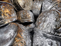 шар крупного плана тайский серебряный производит предпосылку Стоковые Фото