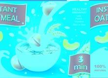 Шар овсяной каши с овсом персика шелушится или иллюстрации вектора шаблона рекламы muesli с большим выплеском молока Стоковое фото RF