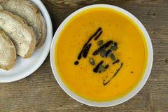 Шар очень вкусного супа тыквы осени Стоковые Фото