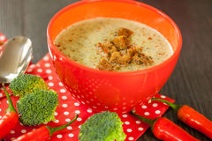 Шар перца chili и супа брокколи Стоковые Фото