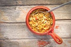 Шар питательного супа чечевицы и гриба Стоковая Фотография