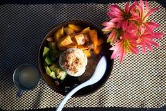 Шар плодоовощ покрытый вверх с мороженым Стоковые Изображения RF
