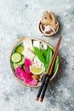 Шар супа лапшей udon Vegan азиатский с имбирем и грибами отваром, тофу, щелчковыми горохами, цукини, редиской арбуза и известкой Стоковая Фотография