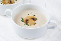 Шар супа сливк гриба на белых досках Стоковые Изображения RF