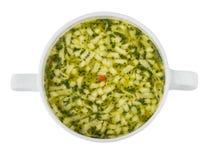 Шар супа с макаронными изделиями Взгляд сверху Стоковое фото RF