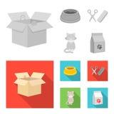 Шар с едой, стрижка для кота, больного кота, пакета питаний на значках собрания комплекта в monochrome, плоском стиле бесплатная иллюстрация