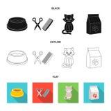 Шар с едой, стрижка для кота, больного кота, пакета питаний на значках собрания комплекта в черной, плоский, план иллюстрация вектора