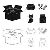 Шар с едой, стрижка для кота, больного кота, пакета питаний на значках собрания комплекта в черноте, стиль плана бесплатная иллюстрация