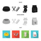 Шар с едой, стрижка для кота, больного кота, пакета питаний на значках собрания комплекта в черноте, плоской бесплатная иллюстрация