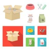 Шар с едой, стрижка для кота, больного кота, пакета питаний на значках собрания комплекта в шарже, плоский стиль иллюстрация вектора