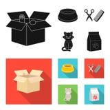 Шар с едой, стрижка для кота, больного кота, пакета питаний на значках собрания комплекта в черном, плоском стиле бесплатная иллюстрация