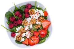 Шар с фруктовым салатом против белой предпосылки Стоковое Изображение