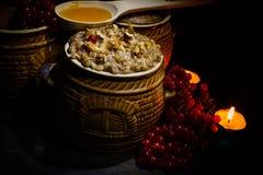 Шар с kutia - едой традиционного рождества сладостной в Украине, Беларуси и Польше Стоковое Изображение