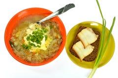Шар лука бекона хлеба сандвича блюда капусты супа Стоковая Фотография RF