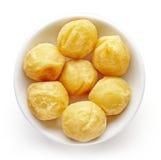 Шар шариков картошки на белизне, сверху Стоковые Фото