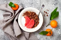 Шар югурта здорового завтрака зимы греческий с granola и грейпфрутом пряника шоколада Взгляд сверху, плоское положение, надземное Стоковые Фото