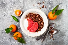 Шар югурта здорового завтрака зимы греческий с granola и грейпфрутом пряника шоколада Взгляд сверху, плоское положение, надземное Стоковые Изображения RF