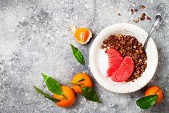 Шар югурта здорового завтрака зимы греческий с granola и грейпфрутом пряника шоколада Взгляд сверху, плоское положение, надземное Стоковая Фотография RF