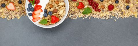 Шар ягод хлопьев клубник югурта плодоовощей завтрака Muesli стоковые фотографии rf