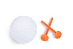 Шар для игры в гольф и тройник стоковая фотография rf