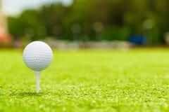 Шар для игры в гольф на тройнике правый космос для надписи Стоковое Фото