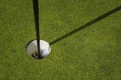 Шар для игры в гольф сидит внутри чашки на зеленом цвете установки поля для гольфа стоковые фото
