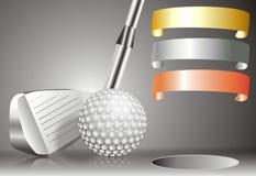 Шар для игры в гольф с гольф-клубом с с диаграммой победителей Стоковое фото RF