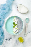 Шар smoothie spirulina Vegan голубой и пудинга chia покрытый с пылом хлопьев и известки кокоса Стоковые Изображения