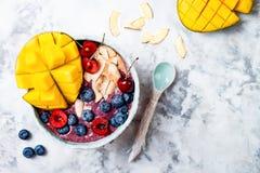 Шар smoothie superfoods завтрака Acai с манго, голубикой, вишней, кокосом шелушится Надземный, взгляд сверху Стоковые Фото