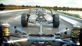 Шасси автомобиля с двигателем на шоссе Очень быстрый управлять АВТОМАТИЧЕСКАЯ концепция Реалистическая анимация 4K иллюстрация вектора