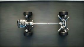 Шасси автомобиля с двигателем на шоссе Очень быстрый управлять АВТОМАТИЧЕСКАЯ концепция Реалистическая анимация 4K бесплатная иллюстрация