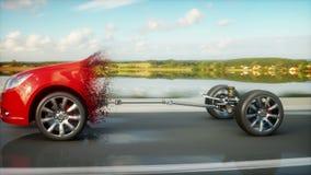 Шасси автомобиля с двигателем на шоссе переход Очень быстрый управлять АВТОМАТИЧЕСКАЯ концепция Реалистическая анимация 4K иллюстрация вектора