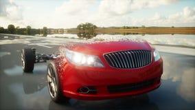 Шасси автомобиля с двигателем на шоссе переход Очень быстрый управлять АВТОМАТИЧЕСКАЯ концепция Реалистическая анимация 4K иллюстрация штока